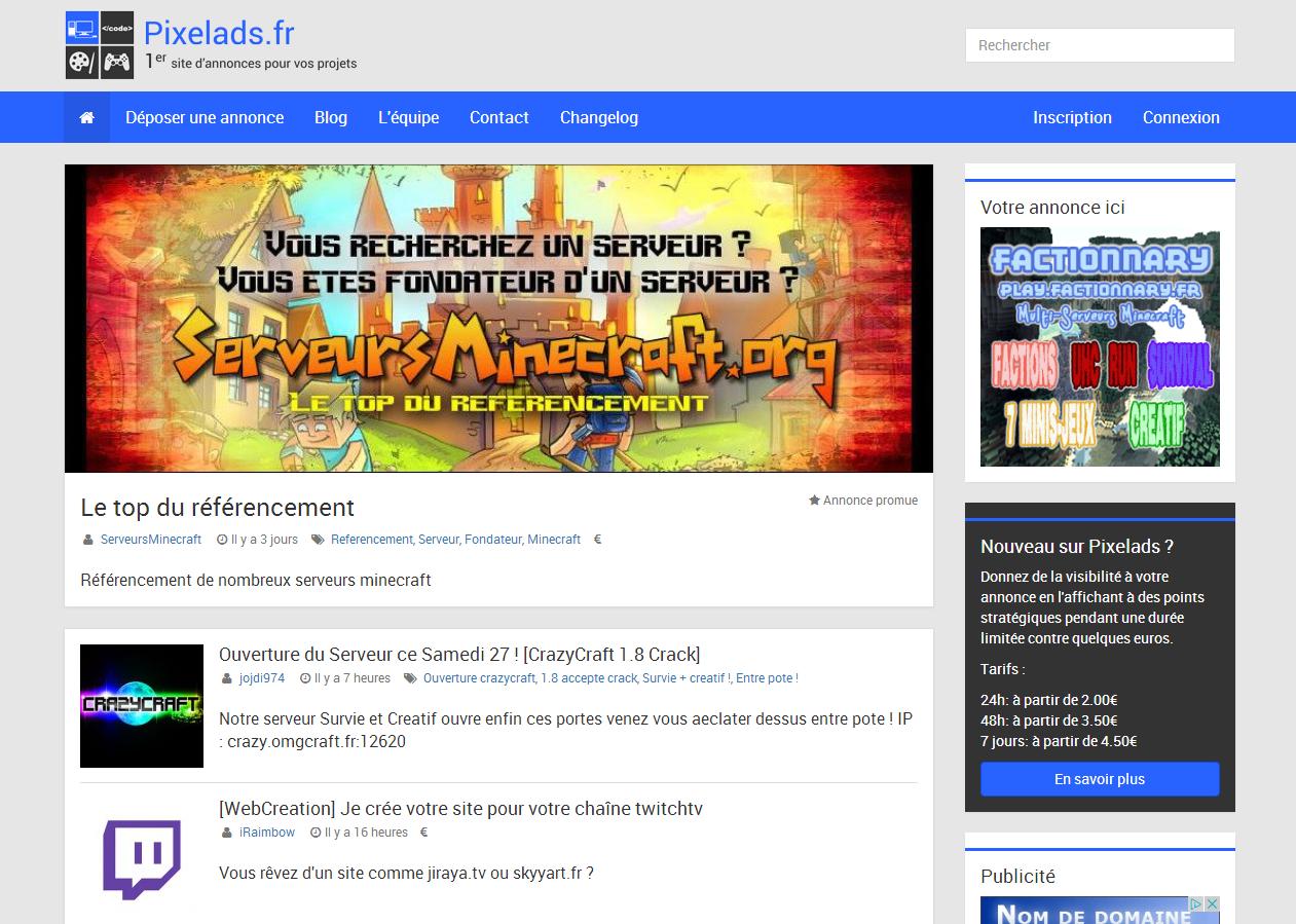 page accueil pixelads annonces numériques