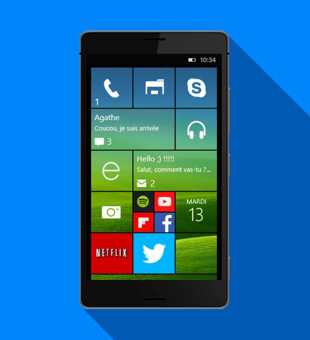 windows 10 sur windows phone interface
