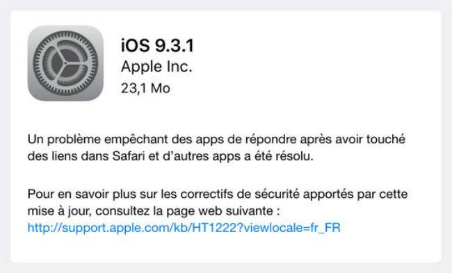ios931 Apple vient de corriger le bug des liens hypertextes