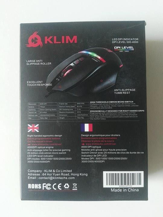 photo-boite-klim-skill Test de la souris Gamer KLIM Skill