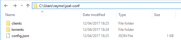 Dossier de configuration JOAL